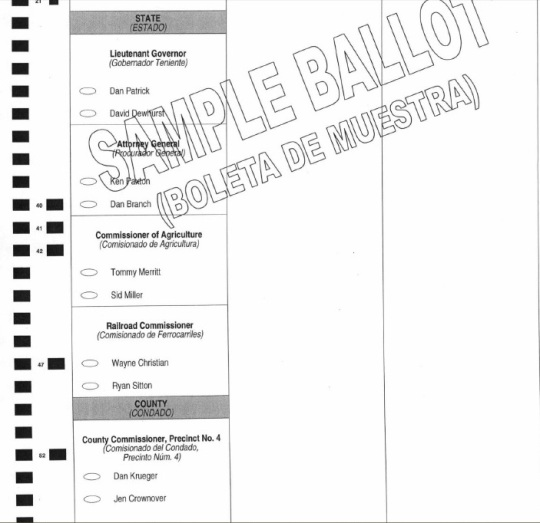 Sample Runoff Ballot ComalCounty 2014