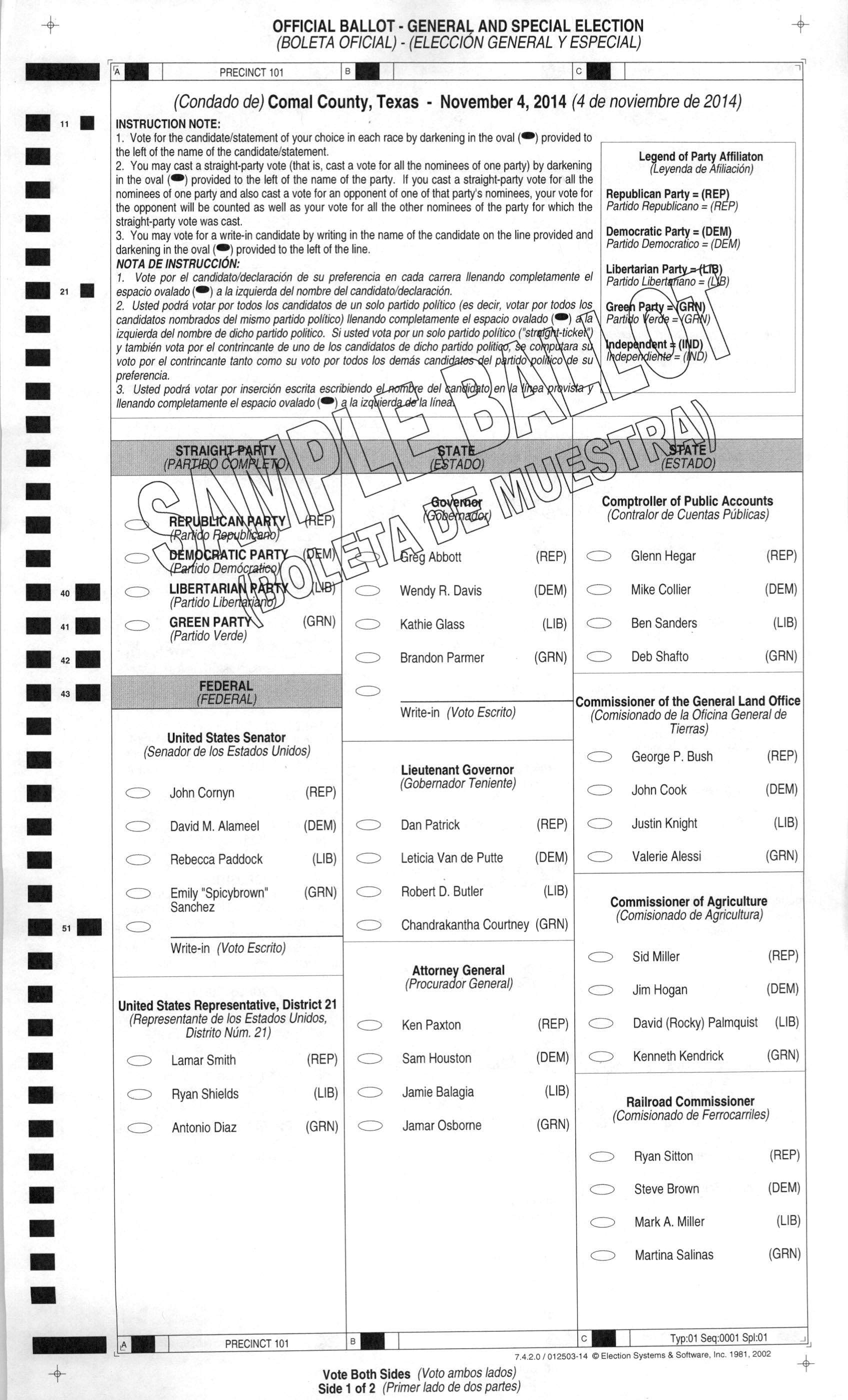 2014 Sample Ballot Comal County Precinct 1 | WingRight