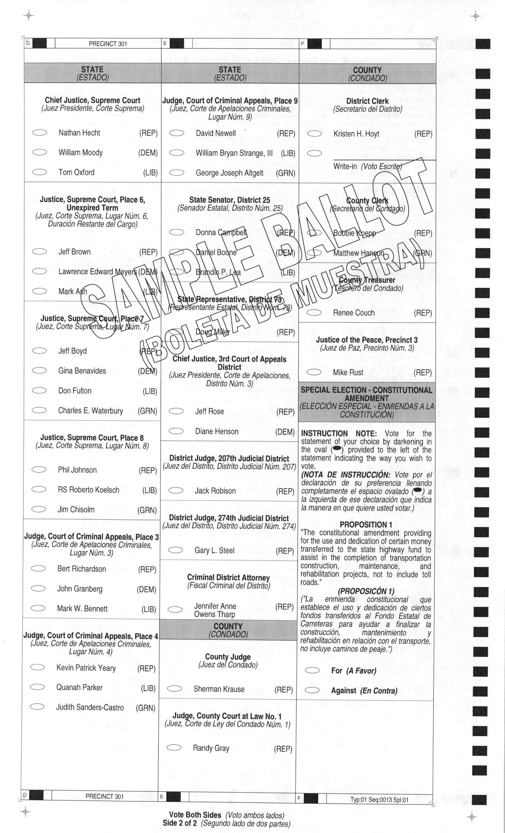 Comal County Precinct 3 Sample Ballot 2014 | WingRight
